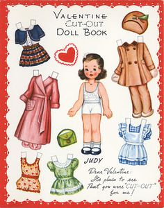 paper dolls... Reminds me of paper doll Betsy McCall from the McCalls magazines. Fond memories from my childhood.
