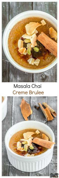 Masala Chai Creme Brulee, an Indian take on the classic dessert! This creme brulee has all the flavors of chai with a touch of coconut! #dessert #cremebrulee Find the recipe on www.cookwithmanali.com