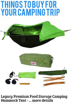 (This is an affiliate pin) Legacy Premium Food Storage Camping Hammock Tent - Parachute Nylon - Portable, 1 Person Compact Backpacking - Outdoor & Emergency Gear - Tree Straps, Tie Ropes, Mosquito Net, Rain Fly Camping Hammock Tent, Rain Fly, Camping Furniture, Mosquito Net, Ropes, Food Storage, Things To Buy, Backpacking, Compact