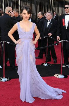 Iconic Oscars Style: Mila Kunis was a vision in soft lavender Elie Saab confection on the red carpet in 2011.