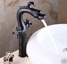 Dragon Shape Countertop Bathroom Basin Faucet Dual Knobs Mixer Tap Oil Rubbed