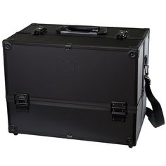 Makeup Train Case - Professional 14' Large Make Up Artist Organizer Kit - Shoulder Bag With Adjustable Dividers, 4 Trays and Key Lock - The Cosmetic Studio Box Is Designed To Fit all Cosmetics - Black * Click image to review more details. (Note:Amazon affiliate link)