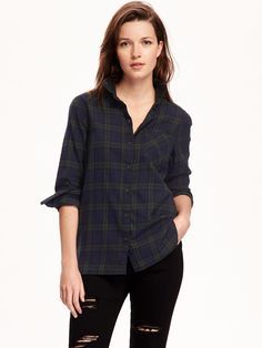 Old Navy Classic Flannel Shirt in Black Watch, Small