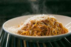 Chef Craig Stoll's pasta and tomato with parmesean cheese. Burlingame, California at Riggs Distributing, Inc., Tuesday, March 17, 2015. Photo: Tina Case, Special To The Chronicle