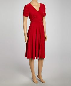 Take a look at this Ruby Red Princess Sleeve Surplice Dress - Women by Danny & Nicole on #zulily today!