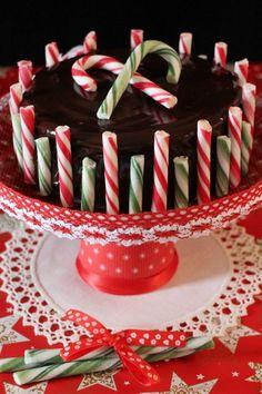 cheesecake de chocolate y peppermint con bastones de caramelo la tarta ms navidea