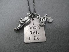 I Don't Tri, I DU Duathlon Necklace - Run Bike Necklace on 18 inch gunmetal chain - Duathlon Jewelr Black Jewelry, Jewelry Box, Duathlon Training, Silver Bow, Bike Run, Nickel Silver, Girls Be Like, How To Make Bows, Runes