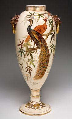 Edward Lycett: Vase ~Faience Manufacturing co. Beige background with two peacocks and foliage~Lion head handles with bronze rings