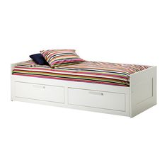 BRIMNES Daybed frame with 2 drawers IKEA Sofa, single bed, bed for two and storage in one piece of furniture. Two large storage drawers under the bed. Or this one? It has storage underneath but it's white,and the furniture in the office is dark.