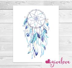 Watercolor Dreamcatcher Art Print - Native American Art - Tribal Print - Boho Nursery - Boho Print - 8x10 - Instant Download by igivelove on Etsy