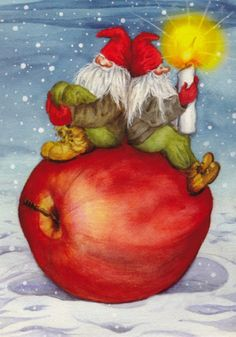 Brownies - Gnomes - Elves Are Sitting On A Red Apple - Carina Ståhlberg - Weihnachten Scandi Christmas, Christmas Gnome, Winter Christmas, All Things Christmas, Merry Christmas, Christmas Clipart, Christmas Cards, Les Moomins, Fantasy Dwarf