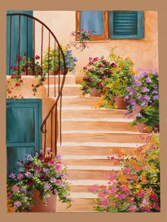 Colourful flowers along the staircase...what a pleasant sight!!!!