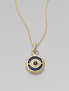 Judith ripka 18k gold evil eye pendant necklace with white blue in love with this judith ripka sapphire yellow gold necklace with evil eye always wore an evil eye when i was young aloadofball Gallery