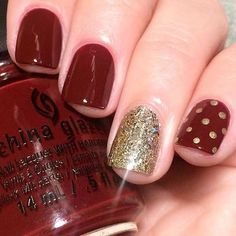 Classy Dark Red and Gold Design for Short Nails
