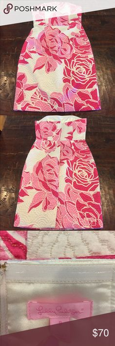 Lilly Pulitzer pink white strapless dress Beautiful Lilly Pulitzer strapless dress. Pink flowers on cream backdrop with a touch of gold sparkle in the fabric. Size 8 in excellent condition. This dress is gorgeous! Lilly Pulitzer Dresses Strapless