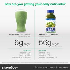 green berry shakeology, naked juice comparison, clean shake, clean smoothie.