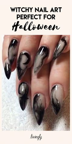 Witchy Nail Art Witchy Nail Art Every Day Can Be Halloween When It Comes To Your Nails Click Ahead For All Of The Spooky And Mystical Nail Designs Your Heart Could Desire And Perfect For Halloween Witchy Nails, Goth Nails, Goth Nail Art, Nail Art Halloween, Halloween Nail Designs, Halloween Ideas, Holloween Nails, Halloween College, Women Halloween