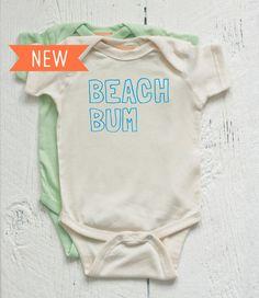 Organic Baby Onesie, Beach Bum - Natural (Newborn, 6M, 12M, 18M)