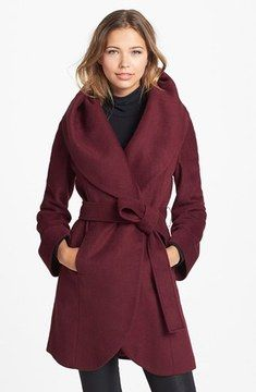 T Tahari Tahari 'Marla' Cutaway Wrap Coat with Oversized Collar (Online Only) on shopstyle.com