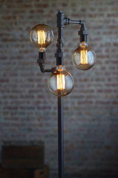 Pipe Floor Lamp - Industrial Floor Lamp - Edison Bulb - Standing ...