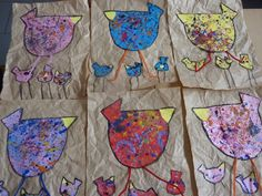 poule façon Eva C Crawford chez Lise: tribune libre Spring Projects, Spring Crafts, Art Projects, Projects To Try, Kindergarten Art, Preschool Art, Easter Art, Easter Crafts, Art For Kids