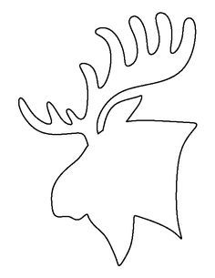 Moose head pattern. Use the printable outline for crafts, creating stencils, scrapbooking, and more. Free PDF template to download and print at http://patternuniverse.com/download/moose-head-pattern/