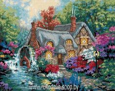 Cottage Mill by Dimensions, counted cross stitch kit Ribbon Embroidery, Cross Stitch Embroidery, Embroidery Patterns, Cross Stitch Patterns, Kinkade Paintings, Dimensions Cross Stitch, Cartoon House, Cross Stitch Landscape, Counted Cross Stitch Kits