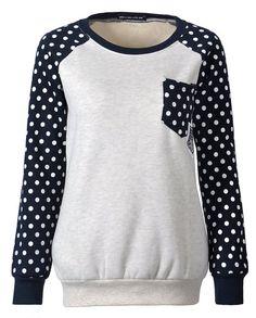 Mooncolour Women Girls Cute Polka Dot Front Pocket Fleece Warm Sweatshirt