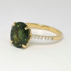 Estate 2.87ct t.w. Rich Oval Green Tourmaline & Diamond Ring 18k | Antique & Estate Jewelry | Jewelry Finds