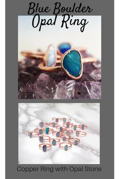 59930bad6 Beautiful Opal Ring! Blue opal set in copper.  accessories  jewelry   shopping