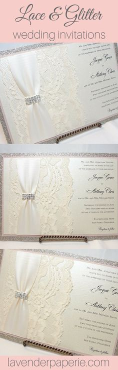 ♥ INVITATION LISTING COLORS ♥This vintage inspired invitation is printed on ivory shimmer cardstock backed by nude shimmer cardstock layered on top of soft