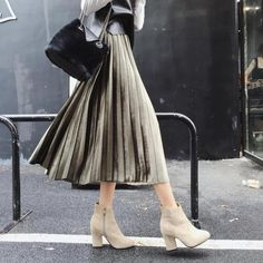 #aliexpress, #fashion, #outfit, #apparel, #shoes #aliexpress, #Spring, #Winter, #Super, #Beautiful, #Velvet, #Shimmer, #Large, #Pleated, #Skirt, #Pleated, #Elastic, #Waist, #Skirt, #Shipping