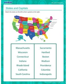 States and Capitals - Free 3rd Grade Geography Worksheets