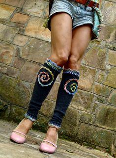 RAINBOW spirals on charcoal LEG WARMERS