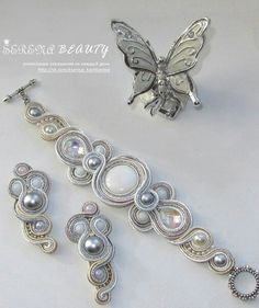 .FLÑADKGFDG Soutache Bracelet, Soutache Jewelry, Bead Jewellery, Boho Jewelry, Jewelry Crafts, Beaded Jewelry, Beaded Necklace, Fashion Jewelry, Homemade Jewelry