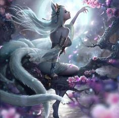 Kitsune female in half shift Fantasy Girl, Fantasy Women, Anime Fantasy, Fox Fantasy, Fantasy Princess, Fantasy Artwork, Mythical Creatures, Fantasy Characters, Anime Characters