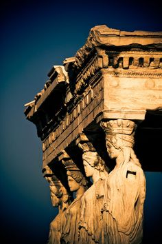 """Porch of the Caryatids (""""Porch of the Maidens"""") at the Erechtheion, an ancient Greek temple on the north side of the Acropolis - Athens, Greece Ancient Architecture, Art And Architecture, Places To Travel, Places To See, Places Around The World, Around The Worlds, Magic Places, Rome Antique, Site Archéologique"""