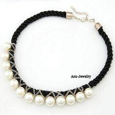 Bead Black Handmade Weave Imitate Pearl Pearl Korean Necklaces  www.asujewelry.com
