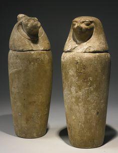 Two Egyptian Limestone Canopic Jars, 26th/30th Dynasty, 664-342 B.C.