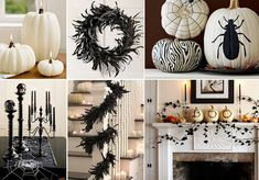 Black and white Halloween decor, love the feathers on banister & pumpkins/candles up the stairs