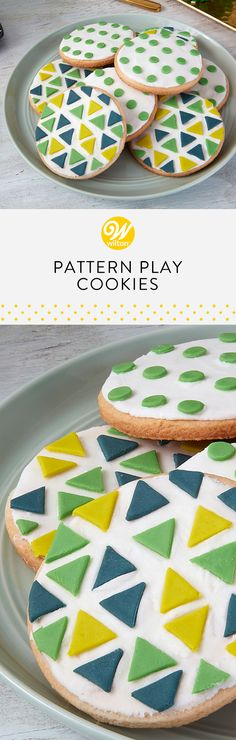 Have fun playing with color and design with these Pattern Play Cookies. Using three shades of fondant, these eye-catching and fun cookies will make a great addition to any birthday party! Play around with your favorite colors to create cookies that perfectly match your celebration. #wiltoncakes #cookies #cookieideas #cookie #cookiedecorating #fondant #fondantcookies #desserts #ideas #inspiration #succulents #succulentlove #succulentinspired #birthday #birthday #birthdayparty #birthdayideas
