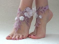 Free Ship DEEP RUBY ankle sandals, laceBarefoot Sandals, french lace, Beach wedding barefoot sandals