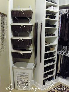 Organization Inspiration: 10 Neat & Beautiful Closets ---- no need for shelves, baskets rest on brackets on shelving tracks.