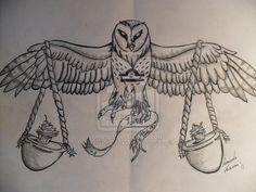 Libra owl tattoo