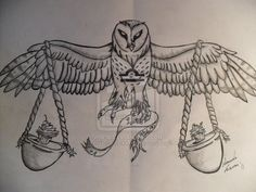 Libra owl tattoo