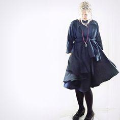 Navy/Black Herringbone Wool Tweed Coat with Belt by 13threads