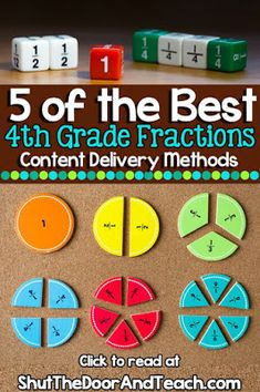 Read about the 5 best fractions activities for fourth grade! Try out these varied content delivery methods 4th Grade Fractions, Teaching Fractions, Fourth Grade Math, Teaching Math, Teaching Ideas, Fraction Activities, Math Activities, Math Worksheets, Math Games