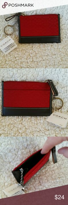Coach Card/Key holder Soho style mini-signature New with tags Coach Card/ID holder with key ring. It is in mini-signature canvas with leather trim. Color is cardinal red with chestnut (dark brown) trim. There is a pocket in the front. There is a zip top with a gusset on one side to help when reaching inside. This is a beautiful deep red. It comes with a dust bag. I have listed the matching Wristlet. Coach  Accessories Key & Card Holders