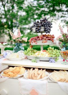 10 Totally Gorgeous Garden Wedding Ideas: Fruit, Cheese & Charcuterie Station. Photo by Laura Murray Photography