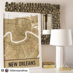 #Repost @littlemeandfree with @repostapp  How awesome is this map from @modernmapart ? WHO DAT?!?! For more details check out my #newblogpost  In related news who else is heading to #neworleans this weekend for #mardigras2017 ? This will be McKenna's first time to go to Mardi Gras! I can't wait for her to experience something I loved doing when I was a kid. #modernmapart #neworleans #louisiana #nola